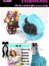 CH100 ใหม่! หมวกสานแต่งดอกไม้หรู ไอเท็มสาวหวานเก๋ที่จำเป็นสำหรับสไตล์เฟรนช์วินเทจ และสไตล์สาวญี่ปุ่น/เกาหลี สีฟ้า