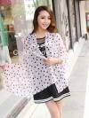 ผ้าพันคอแฟชั่นลายจุด Polka Dot : สีชมพู - ผ้าพันคอ Silk Chiffon 160 x 45 cm