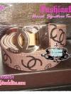 BELT4008 Chanel  Signature Twotone Belt เข็มขัดชาแนล สายเข็มขัดสีน้ำตาลกะปิตัวอักษรสีดำ หัวโลหะเงิน CC สลัก chanel