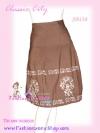 สไตล์ESPADA SB138 Detail Skirt กระโปรงผ้าคอตตอนฮ่องกง ปักเลื่อมดูมีราคาค่ะ สีน้ำตาลแต่งง่าย