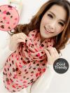 ผ้าพันคอลายหัวใจ Heart Scarf (สีชมพู) ผ้าชีฟอง 160x60 cm