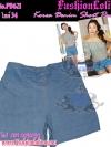 ไซส์34 เอาใจสาวอวบ #ขาสั้นยีนส์ที่กำลังฮิต# PB621 JeanShortPants กางเกงขาสั้นสวยยีนส์ แบบสวยเก๋ แต่งโบ สียีนส์อ่อน