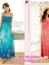 มี 2 สี [พร้อมส่ง] เทรนด์แรงกับMaxi Dress:ADB108 ใหม่! ชุดแซก/แม๊กซี่เดรสผ้าชีฟองสายเดี่ยวอกสม๊อก ลายดอกไม้ใบไม้ไล่โทนสี