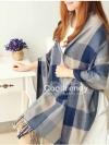 ผ้าพันคอ ผ้าคลุมพัชมีนา Pashmina ลายตาราง size 200*70 cm - สี ligh blue
