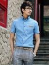 เชิ้ตแขนสั้นเข้ารูปกระเป๋าขลิบหนังแฟชั่นเสื้อผ้าผู้ชายเกาหลี