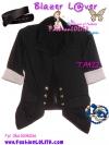 แบบสาวเกาหลี ฮิตตามให้ทันBlazerตัวโปรด TA422:Blazer Lover: ใหม่! เสื้อคลุมเบลเซอร์คอปก ผ้าคอตตอนยืดเก๋ที่ปลายแขนเป็นสตริป ได้ลุคเก๋ๆ