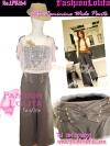 ไซส์36 [เอาใจสาวอวบ] LPB264-36 Wide Pants กางเกงขาบาน/กางเกงกระโปรง เอวสูงเก็บหน้าท้องดีสวยผ้านอกไม่ต้องรีด สีน้ำตาล
