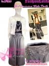 ไซส์38 [เอาใจสาวอวบ] LPB263-38 Wide Pants กางเกงขาบาน/กางเกงกระโปรง เอวสูงเก็บหน้าท้องดีสวยผ้านอกไม่ต้องรีด สีเทา