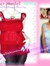 TB127X::สไตล์นางแบบ นุ่นห้ามพลาด::Angel~Sweet ใหม่! แบบมาช่า เสื้อมีบ่าระบายผ้าชีฟองผ้าพื้นสีแดงพลัม อกย่น ระบายเป็นชั้นๆ สีขาว-แดงพลัม
