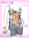 สไตล์สาวเกาหลี ลุคใสๆTB422 :Blink Korean : ใหม่! เสื้อสายเดี่ยวอกไขว้ผ้าชีฟองลายดอกหวาน เพิ่มความหวานด้วยแถบลูกไม้ซีทรูเฉดทอง