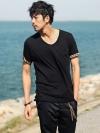 เสื้อยืดคอกลมแขนลายเสือแฟชั่นเสื้อผ้าผู้ชายเกาหลีมี2สี