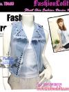 แฟชั่นสตรีทชิค TB680:Denim Vest:เสื้อกั๊กยีนส์เดนิมติดหมุด แต่งซิบแบบสุดเก๋ แบบเดียวกับงาน H&M สียีนส์อ่อน