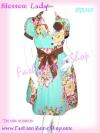<สวยมากๆ เชียร์ค่ะ >DB387 Feminine Look ใหม่! แซคผ้ามัสลินลายดอกไม้ ตีเกล็ดใต้อก ผูกโบหน้าหรือหลังก้อได้ มีดอกไม้ตรงปก หรูมั่กๆสีฟ้า