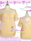 อก 40-48 สาวอวบสวยได้ ฮิตฮอตแฟชั่นเกาหลีเก๋สุดๆ LTA237 เสื้อผ้าเรยอนเนื้อนิ่มเด้งทิ้งทรงสวย ลายสตริปน่ารักมากมายมีกระเป๋าข้าง สีเหลืองรักพ่อสลับขาว