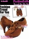 Shoes108 Tan suede Bow Shor Bootใหม่! รองเท้าบูทสั้นหนังกลับส้นสูงแบรนด์เกาหลีสีแทน น่ารักมากใส่แล้วดูเท้าขาว เท้าเล็กไซส์ 35