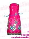 FZS0381 PiNkY DreSs ใหม่! แซค เดรส เกาะอกสีชมพูสดผ้าคล้ายไหม พิมพ์ลายเป็นของexport