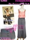 ไซส์34 [เอาใจสาวอวบ] LPB268-34 Wide Pants กางเกงขาบาน/กางเกงกระโปรง เอวสูงเก็บหน้าท้องดีสวยผ้านอกไม่ต้องรีด สีเทา