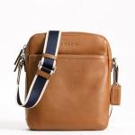 Coach Heritage Web Leather Flight Bag # 70813 สี Silver/Saddle