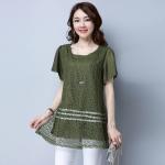 เสื้อแฟชั่นชีฟองสีเขียวลายลูกไม้ (XL,2XL,3XL,4XL,5XL)