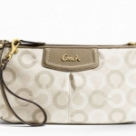 Coach Ashely Dotted Op Art Large Wristlet # 48053 สี Taupe