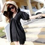 """""""พร้อมส่ง""""เสื้อผ้าแฟชั่นสไตล์เกาหลีราคาถูก Brand Partysu เดรสผ้าฝ้ายลายดอกไม้ คอวี มีซับในช่วงกระโปรง ซิปข้าง -สีดำ"""