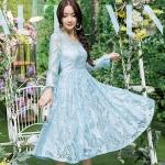 เดรสผ้าลูกไม้ไซส์ใหญ่สไตล์เกาหลี สีฟ้า (3XL,4XL)
