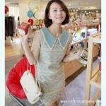 """""""พร้อมส่ง""""เสื้อผ้าแฟชั่นสไตล์เกาหลีราคาถูก Brand Pink doll เดรสผ้าลูกไม้สีขาว ซับในด้วยผ้าสีฟ้าอมเขียว แต่งคอเสื้อ 2 ชั้นสีฟ้าอมเขียวและขาว ซิบซ่อนด้านข้าง ลำตัว สวยหรูมากค่ะ ในแบบเป็นสีฟ้า สินค้าจริงสีเขียวอมฟ้านะคะ"""