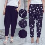 กางเกงชีฟองแฟชั่นเกาหลีไซส์ใหญ่ เอวยางยืด สีดำ/ลายจุด/ลายดาว (XL,2XL)