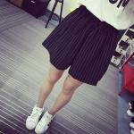 กางเกงขาสั้นสีดำลายทาง เอวยืด มีกระเป๋าข้าง (XL,2XL,3XL,4XL)