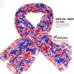 ผ้าพันคอแฟชั่นลายธงชาติอังกฤษ Eng National Flag : สีฟ้า CK0316