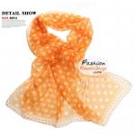 ผ้าพันคอแฟชั่นลายจุด Polka Dot : สีส้ม CK0264