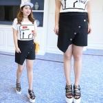 กางเกงขาสั้นกระโปรงป้าย เอวหลังใส่ยางยืด สีขาว/สีดำ (XL,2XL,3XL,4XL)