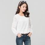 เสื้อชีฟองไซส์ใหญ่ ปักกลีบดอกไม้ สีขาว (XL,2XL,5XL)