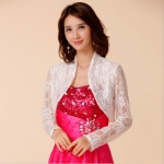 เสื้อคลุมไหล่สีขาวผ้าลูกไม้cropแขนยาว (F,XL,2XL,3XL,4XL)