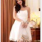 ♥พร้อมส่ง♥ ชุดราตรีซาตินผ้าโปร่ง สีขาว (3XL)