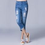 ++พร้อมส่ง++ กางเกงยีนส์ฟอกขาสามส่วน สีน้ำเงิน (2XL)