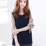 เสื้อแฟชั่นเกาหลี ผ้าชีฟอง มีสายผูกโบว์ที่แขนเสื้อ