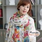 ผ้าพันคอแฟชั่นลายดอกไม้ Blossom : สีขาว CK0300