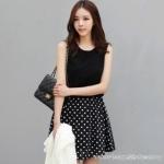 """""""พร้อมส่ง""""เสื้อผ้าแฟชั่นสไตล์เกาหลีราคาถูก Brand Ou FANR เดรสแขนกุดสีดำต่อกระโปรงดำจุดขาว มีซับใน น่ารัก"""