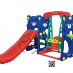 PGGT-804 สไลด์หมีน้อย 4 อิน 1 สไลด์ + ชิงช้า + เสียงเพลง + แป้นบาส สีน้ำเงิน
