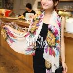 ผ้าพันคอลายดอกไม้ Colorful flower สีขาว ผ้าพันคอ Silk Chiffon160 x 60 cm