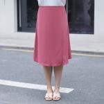 กระโปรงยาวผ้าชีฟองสีชมพู ผ่าหน้า เอวยางยืดใส่สบาย (XL,2XL,3XL,4XL) ZX1217