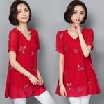 เสื้อชีฟองแฟชั่นสาวอวบ สีชมพู/สีแดง/สีน้ำเงิน/สีกรมท่า/สีดำ (L,XL,2XL,3XL,4XL,5XL,6XL) HY-1085