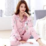 ชุดนอนผ้าฝ้ายสีชมพูพิมพ์ลายกระต่าย เสื้อเชิ้ตติดกระดุมแขนยาว+กางเกงขายาว เอวยืด (M,L,XL,2XL,3XL) ON-6945