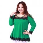 เสื้อชีฟองแต่งลูกไม้ สีเขียว/สีน้ำเงิน (XL,2XL,3XL,4XL)