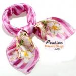 ผ้าพันคอ ผ้าคาดผมเนื้อไหมญี่ปุ่น : สีชมพูลายดอกไม้ MJ0018