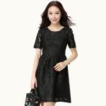 ชุดเดรสผ้าลูกไม้สีดำไซส์ใหญ่ แขนสั้น (XL,2XL,3XL,4XL)