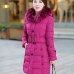 เสื้อกันหนาวตัวยาวไซส์ใหญ่ ผ้าหนา ปกขนเฟอร์ มีฮู้ดขนเฟอร์ สีชมพูบานเย็น (XL,2XL,3XL,4XL,5XL)