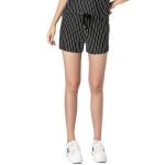 กางเกงขาสั้นลายทาง สีขาว/สีดำ เอวรูด แบบสบาย ๆ (XL,2XL,3XL,4XL,5XL)