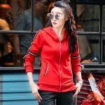 ชุดแฟชั่นกีฬาลำลองไซส์ใหญ่ Set 2 ชิ้น เสื้อแขนยาวรูดซิปมีฮู้ด+กางเกงขายาว สีขาว/สีดำ/สีแดง (XL,2XL,3XL)